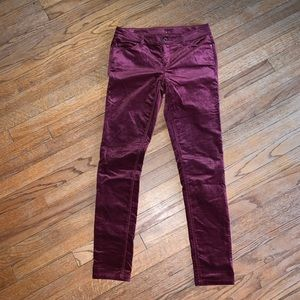 Burgundy Velvet skinny pants